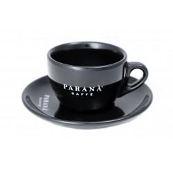 Porcelanowa, biała filiżanka do kawy cappuccino marki Caffè PARANÀ z okrągłym podstawkiem. Do eleganckiego podawania smacznej kawy w restauracji i domu.