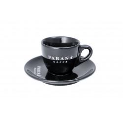 Biała filiżanka Espresso od Caffè PARANÀ z okrągłym talerzykiem to gustowna propozycja dla wysublimowanych kawoszy, którzy cenią sobie estetyczne rozwiązania.