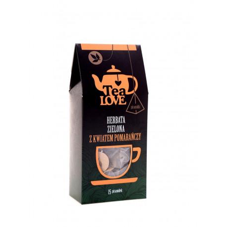 Herbata Tea LOVE z kwiatem pomarańczy w piramidkach to pyszna mieszanka zielonej herbaty Oolong (88%) oraz kwiatów pomarańczy (12%).