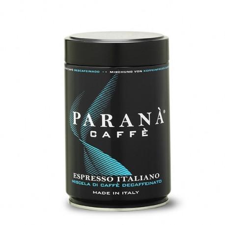 Mielona, bezkofeinowa kawa PARANÀ Espresso Italiano (arabika 100%) w 250-gramowej estetycznej puszce jest bardzo delikatna. Przyrządzisz z niej aksamitne espresso.
